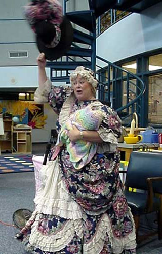 Photograph of Mother Goose dancing.